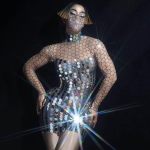 Reflective Mirrors Silver Rhinestones Mesh Mini Dress Nightclub Singer Sequins Dresses Women Birthday Celebrate Outfit DN6073