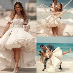 Princess A Line Wedding Dresses Tiered Ruffles Hi Lo Lace Bridal Gowns Plus Size Beach vestido de novia
