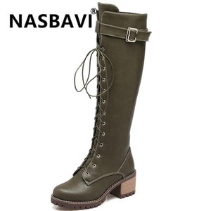 2020 New Europe and America woman knee high martin boots winter warm Front strap buckle lady thick heel hige heel long boots