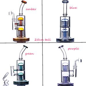 Doble árbol Perc reciclador plataformas de aceite PERCOLADER AGUA TUBO AGUA GRUPO AGUA BONGS ANILLO DE ARCOUDO ARCOMING BONG BONG RIG FUMAR ACCESORIOS