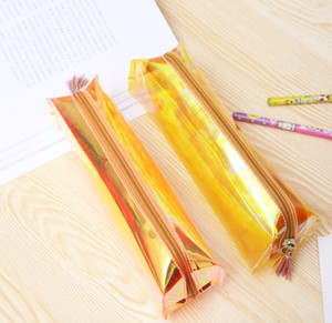 2020 PU Laser Fashion Bags Zipper Pencils Case Durable Stationery Pen Box Escolar Papelaria for free shipping A10