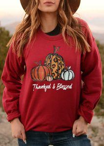 Поддержал и благословляет женские футболки весна осень Длинные рукава Фестиваль благодарения Дизайнер Женщины Топы Повседневный Свободная одежда
