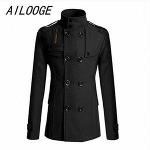 Femininos AILOOGE Brasão Moda slim Longo Trench Windbreaker botão de lapela Jacket Outwear m6mH #