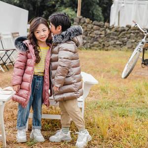INPEPNOW 2020 Lange Große Pelz-Kragen-Jungen-Mädchen des Mädchens Wintermantel Jacke der Kinder für Babykleidung Monkler Parka für Mädchen