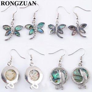 Rongzuan бесплатная доставка Новая Зеландия Abalone Shell Gem камни Dragonfly Bears Boundly Серьги Пара для женщин Ювелирные Изделия 1Pair TBR324