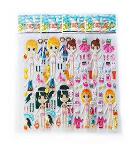 Мультфильм одеваются наклейки 3D наклейки Мода марка Дети Дети Девочки Мальчики Пвх наклейки пузыря игрушки Gyh sqcfUA pingtoy