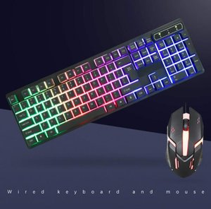 03 Wired USB luminescent keyboard and mouse set Backlit mechanical feel dustproof and waterproof game keyboard CMK188