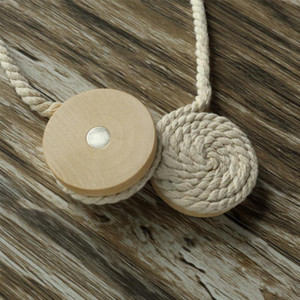 DAVEVY Round Wooden Ball Cotton Curtain Rope weave Magnetic Tie Band Curtain Rope Tiebacks Clips for Home Office