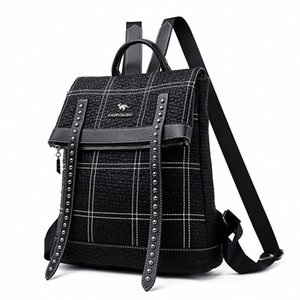 Leather Youth Backpacks For Teenage Girls Female Shoulder Bag Women Travel Rivet Bags Multifunction Thread Backpack Women 3Omo#