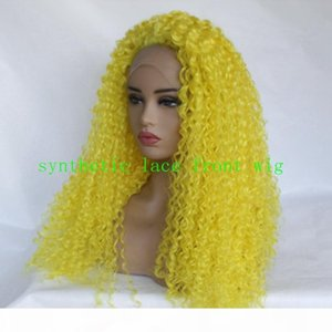 Cheap Yellow Color Full wig Natural Kinky Curly Hand tied Heat Resistant Hair Synthetic Lace Front Wigs for women