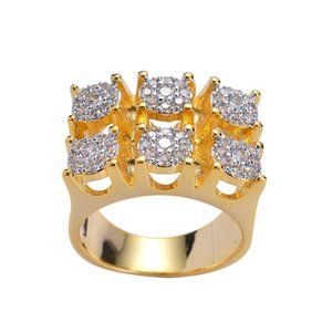 Gold Copper Brass mirco setting CZ stone Hip Hop Ring All Iced Out Men CZ Stone Rings