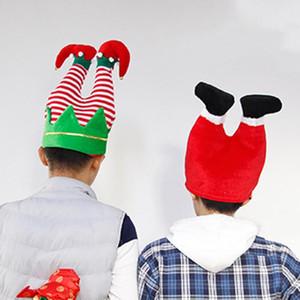 6pcs lot Christmas Hats Flannel Santa Claus Clown Pants Leg Hat Kids Funny Toys Decor Prop Christmas Decorations for Home