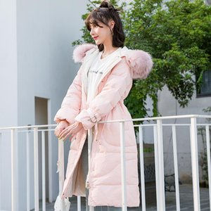 Nice Tide Large Fur Collar Long Down Jacket Female Leather Fur Pearls Thick Warm Female Jacket