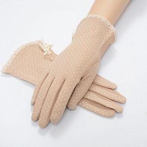 1 Çifti Yeni Saf Pamuk Polka Dot Dantel Güneş Eldiven Kadın Sürüş Kayma dirençli eldivenler Yaz Kadın Güneş Koruma