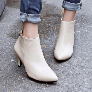 Big Size 9 10 11-17 boots women shoes ankle boots for women ladies shoes woman winter Pointed pure color