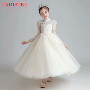 FADISTEE Champagner Spitze Mädchenkleid Mädchenkleider vestidos Spitze-Baby-Säuglings-Kleid-Kind-Formal Wear Mädchenkleid