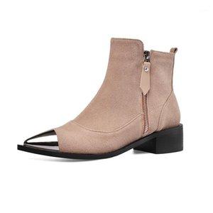 2020 Весна / осень Западные ковбойские сапоги для женщин Boots Boots Замшевые металлические заостренные пальцы плоские туфли женщины Basic Black Khaki1