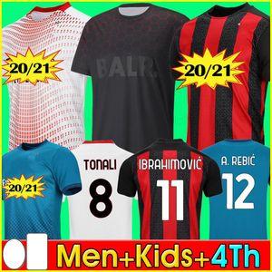 20 21 AC Mailand-Fußball Jersey 2020 2021 AC-Fußballhemd IBRAHIMOVIC TONALI Paquetá Bennacer REBIC Camiseta futbol ROMAGNOLI Ibrahimovic 123