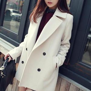 New Women Autumn Woolen Coats Warm Long Sleeve Turn down Collar Outwear Jackets Ladies Winter Casual Elegant Overcoat