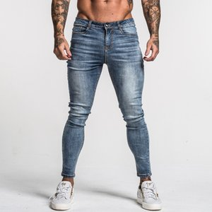 Gingtto Men's Skinny Jeans Faded Blue Middle Waist Classic Hip Hop Stretch Pants Cotton Comfortable Dropshipping Supply zm46 201004