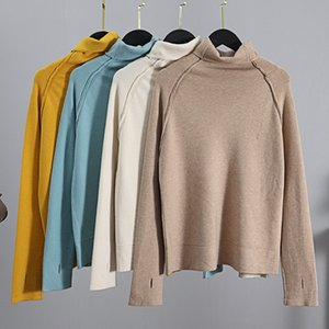 2021 New Thumb Hole Woman Sweaters Chic Turtleneck Crop Top Women Pink Pulover Sweater Soft Knitted Jumper Female Jersey Mujer 6q2v