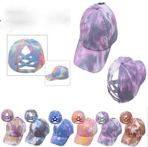 Tie-dye Ponytail Hat Hollow Criss Cross Printed Ponytail Baseball Cap Newest Street Outdoor Sports Tide Hat DB469