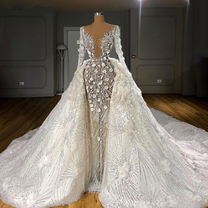 Luxury Two Pieces Wedding Dresses 2021 Long Sleeves Pearls Wedding Gowns Flowers Sequined Bridal Dress Vestidos De Novia
