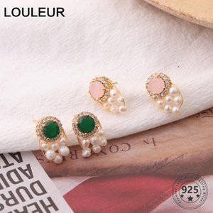 LouLeur Natural Pérola brincos elegante Handmade 925 Zircon-de-rosa verde brincos de jóias presentes Mulheres Moda