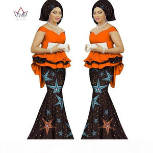 Spring skirt set african designed clothing traditional bazin print Bazin Riche plus size skirt set evening dress WY1312