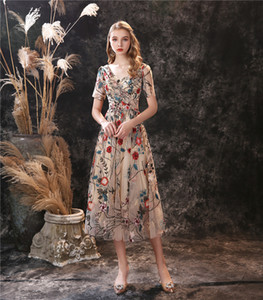 New Style Colorful Embroidery Lace Prom Gown V Neck Short Sleeve A-line Evening Party Dress Custom Made