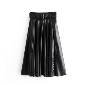 Женщины Винтаж Искусственная кожаная юбка с поясом 2021 Элегантные Офисные Дамы Черный ПУ MIDI Юбка Мода Плиссированные Повседневные Дамы Юбки