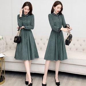 El vestido de la primavera y el otoño N6ZBK mujeres 2020 otoño nueva cintura Zhang luz elegante maduran Qun Qun Xiu Xiu adelgazamiento estilo de la cintura alta Zhang informal