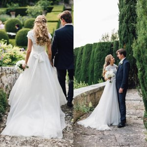 Country Wedding Dresses A Line Illusion Lace Jewel Neck Short Sleeves Modest Bridal Gowns with Sash and Sweep Train Custom Made