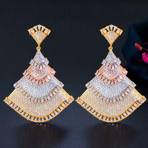 Popular Fashion Women Earrings Yellow Gold Plated Full Bling CZ Fan Shaped Earrings for Girls Women for Party Wedding Nice Gift for Friend