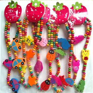 48pcs (24 sets) Design Mix Children Wood Beads Bracelets & Necklaces Kids Fashion Jewelry Set Party Gift 201009