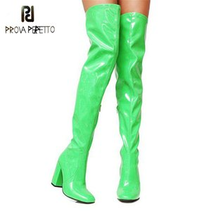 Prova Perfetto Sexy Bright Patent Leather Boots Party Shoes Woman Over The Knee Boots Girls Fancy Dress High-Heel Women