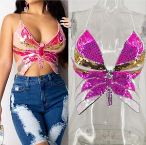 Femmes Sexy Halter Butterfly Tops de culture paillettes en forme de papillon Dames Col V-Col V-Dossier Sling Gilet Camis Nightclub Brillant Barwear 2021 été