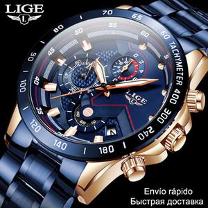 2020 Herren Uhren Wasserdichte Edelstahl Lige Top Marke Luxus Modesportuhr Chronograph Quartzuhr Schwarz Watch Männer LJ201202
