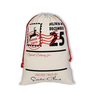 Canvas Christmas Sants Bag Large Drawstring Candy Bags Santa Claus Bag DHL Ship Xmas Santa Sacks Gift Bags For Christmas Decoration 50*70cm