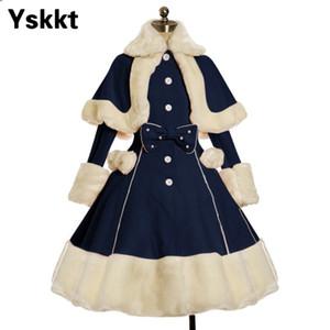Halloween Costume Overcoat Yskkt Mulheres Lolita Inverno casaco quente Fur Collar bowknot vestido Jacket Moda Doce Princesa Breasted