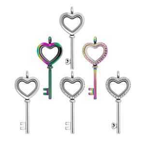 Can put in mini photo or floating charms Love Key heart Pendant Necklace glass locket pendant necklace