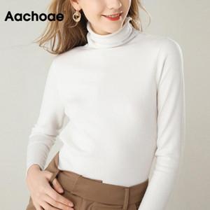 Aachoae Chic Herbst-Winter-Frauen-feste Rollkragenpullover Langarm beiläufige Pullover Pullover Elegante Grund Pullover Suéter Mujer