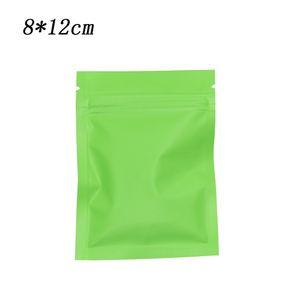 200Pcs 8*12cm Green Matte Surface Metal Foil Packaging Bags Retail Self Seal Zip Lock Mylar Pouches Drid Food Beef Snacks Storage Bags