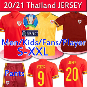 2020 2021 Gales del fútbol de los jerseys Nacional Euro Copa Cymru hogar lejos niños BALA James Ramsey hombres maillot de camisetas de fútbol Camisetas UNIFOR