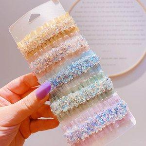 Ins Renkli Kristal Kadınlar Saç Klipleri 2 adet / takım Moda Inci Kız Tasarımcı Saç Klipler Kadınlar Için Saç Aksesuarları BB Klipler Barrettes