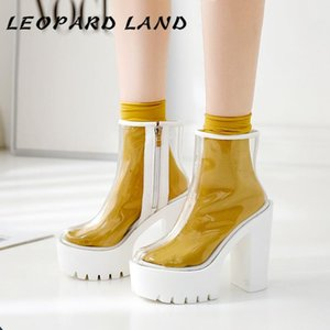 LEOPARD LAND 19 Mulheres Limpar Botas branco transparente fundo impermeável Platform Grosso do salto alto rodada sapatos botas DF-jz750-1