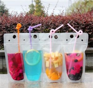 100pcs clear drink pouches bags frosted zipper stand-up plastic drinking bag straw with holder reclosable heat-proof 17oz