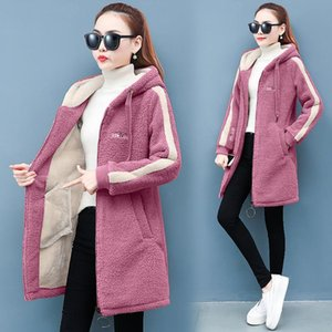 2020 Winter Faux Fur Teddy Coat Women Fashion hooded Add velvet to thicken zipper jacket fashionable and casual plus-size coat