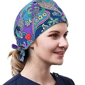 Women Ethnic Paisley Buttons Scrub Cap wtih Hair Ties Work Bouffant Hat F3MD