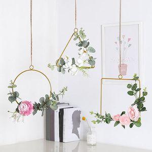 25*23cm Wedding Wreath Gold Iron Metal Ring Garland Easter Decor Artificial Flower Rack Party Backdrop Decor Hoop